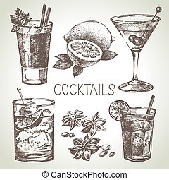Hand drawn sketch set of alcoholic cocktails Vector...