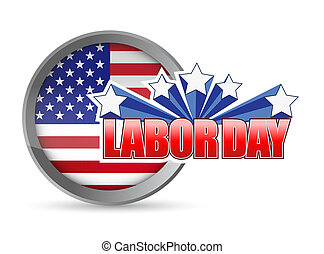 labor day flag seal sign illustration design graphic