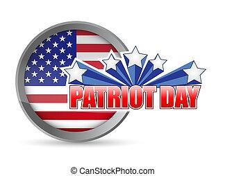 patriota, Ilustración, bandera, diseño, sello, día