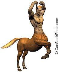 Centaur - 3D rendered image of centaur on white background...