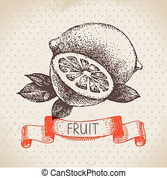 Hand drawn sketch fruit lemon. Eco food background. Vector...