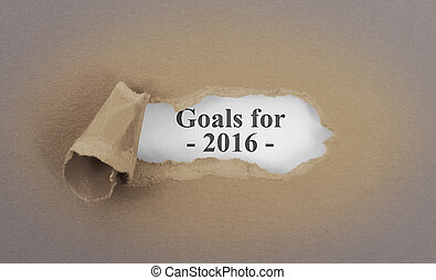 Text appearing behind torn brown envelop - Goals for 2016