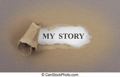 Text appearing behind torn brown envelop - My story
