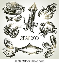 Hand drawn sketch set of seafood Vector illustration