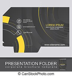 Abstract dark corporate folder with die cut, technology pattern