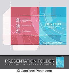 Presentation corporate folder template with die cut design....