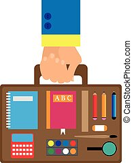 background in a flat style with a hand carrying school bag inside which the paints, pencil, pen, magnifier, ruler, notebook, ABC, calculator, eraser. background for the holiday back to school