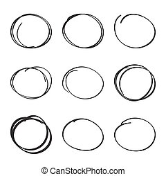 Set hand drawn ovals, felt-tip pen circles Underlining,...