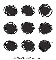 Set hand drawn ovals, felt-tip pen circles Rough blob frame...