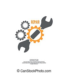 Wrench and gear icon Mechanic service and mechanics,...