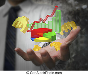 Businessman hand showing business growth graph with euro...