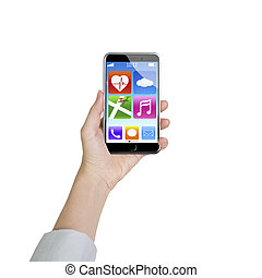 Female hand holding smartphone with app icons - Female hand...