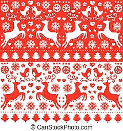 Christmas seamless folk pattern - Retro style red Xmas or...