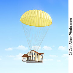 Concept of fast rent House falling on the parachute on a sky...