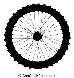 Bicycle Wheel Silhouette - A knobly tyre on a bicycle wheel...