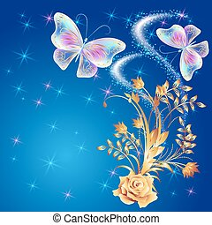 Transparent butterflies with rose - Transparent flying...
