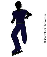 Male Roller Skater Silhouette - Male roller skater...