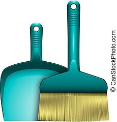 dustpan and brush for cleaning abstract vector illustration...