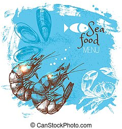 Bosquejo, Ilustración, cartel, mariscos, mano, vector, mar,...
