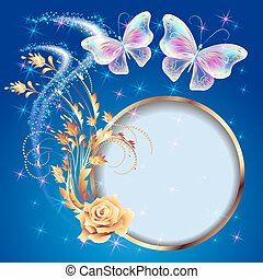 Transparent  butterflies with golden ornament, frame and  firework
