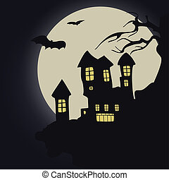 Dark castle Halloween - Castle on the background of the full...