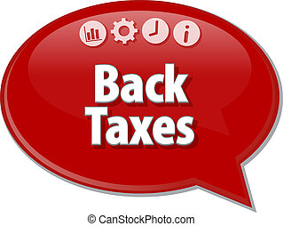 Back Taxes Business term speech bubble illustration - Speech...