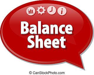 Balance Sheet Business term speech bubble illustration -...