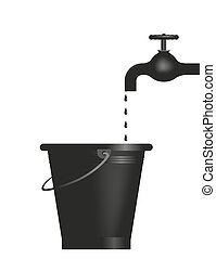 tap - abstract illustration of a tap with bucket
