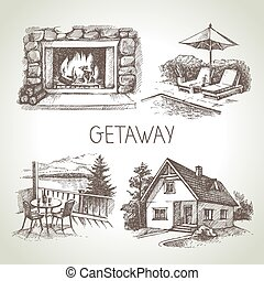 Hand drawn sketch set of family vacation Vector illustration...