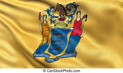 US state flag of New Jersey with great detail waving in the...