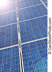 Alternative energy - Solar panel with bright sun
