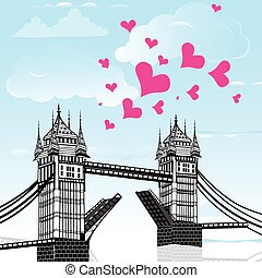 Tower Bridge with love heart as concept travel, London...