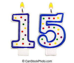 Birthday candles number fifteenisolated on white background