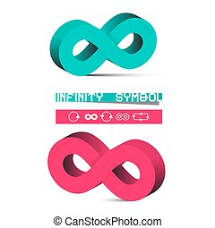 Vector 3D Infinity Symbols Set Isolated on White Background