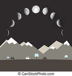 Abstract Vector Flat Design Night Landscape with Moon Phases