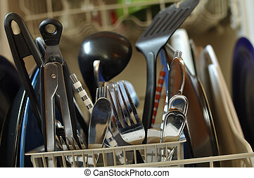 Dirty Dishes in Dishwasher - Close Up of Dirty Dishes in...