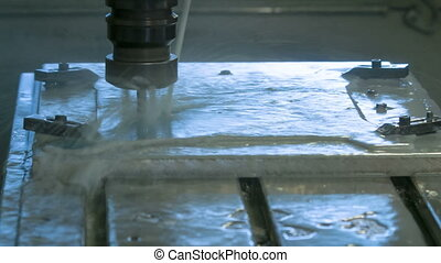 CNC Milling Process with cooling liquid