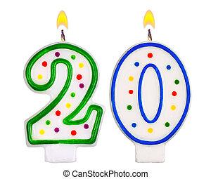 Birthday candles number twenty