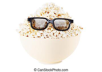 Full face Smiling Monster of popcorn, glasses. Isolated on...
