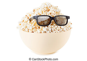 Smiling Monster of popcorn, glasses. Isolated on white -...