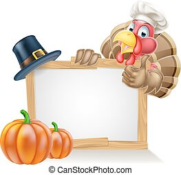 Chef Turkey Thanksgiving Sign - Sign with cartoon...