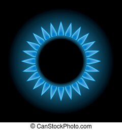 Blue flames of gas stove, natural gas, 3d vector, eps 10