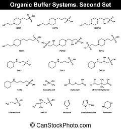 Organic buffer agents - chemical molecular structures and...