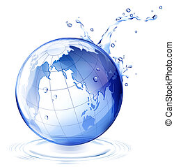 earth and water drop - drawing of blue earth with water drop
