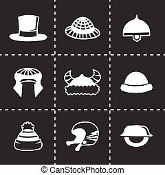 Vector helmet and hat icon set on black background