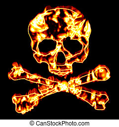 Fiery Skull and Crossbones - A flaming skull and crossbones...