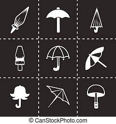 Vector umbrella icon set on black background