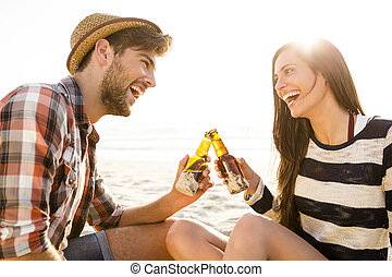 Couple having great time together - Young couple at the...