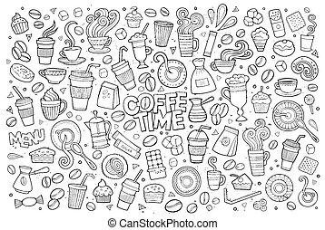 Coffee time doodles hand drawn vector symbols - Coffee time...
