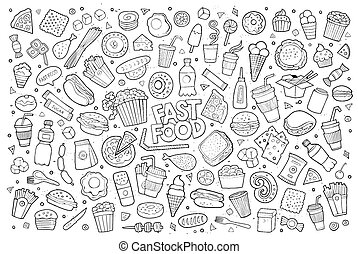 Fast food doodles hand drawn sketchy vector symbols and...